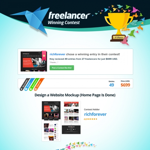 Freelancer.com Winning Entry - Homepage for music site.
